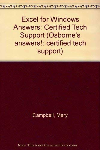 9780078820540: Excel for Windows Answers: Certified Tech Support (Osborne Answers)