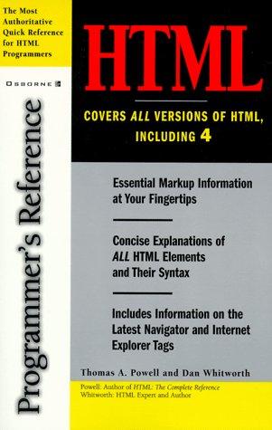 9780078825590: HTML 4 Programmer's Reference
