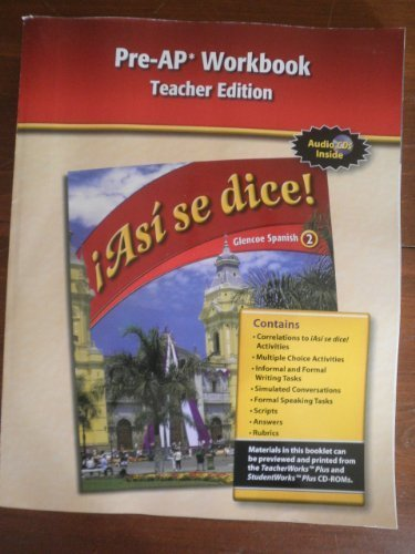 9780078889431: Pre-AP Workbook Teacher Edition (Asi se Dice! Glencoe Spanish 2)