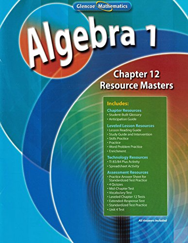 9780078905063: Glencoe Algebra 1 2008 Chapter 12 Resource Masters