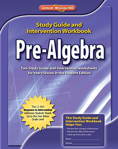 9780078907395 pre algebra study guide intervention workbook rh abebooks com glencoe pre algebra study guide and intervention Compass Pre-Algebra Practice Test