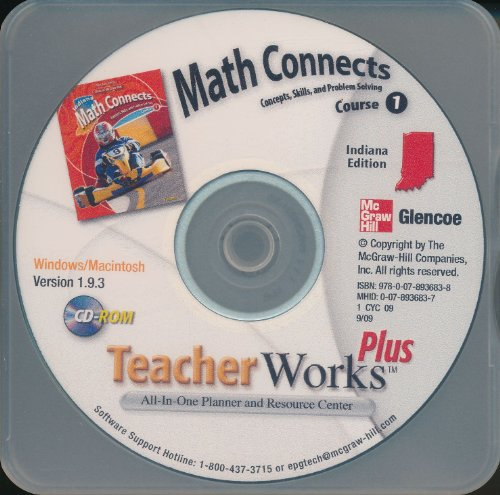 9780078936838: Glencoe: Math Connects, Course 1 - Concepts, Skills, and Problem Solving, Indiana Edition - Teacher Works Plus CD-ROM