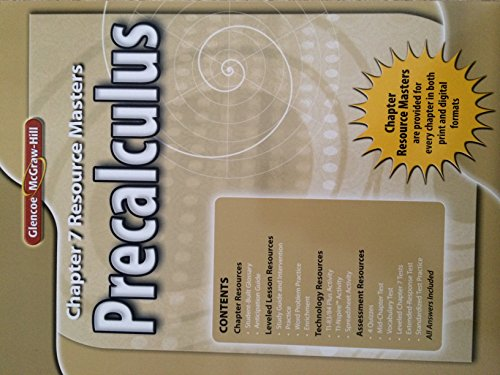 9780078938085: Glencoe Precalculus Chapter 7 Resource Masters