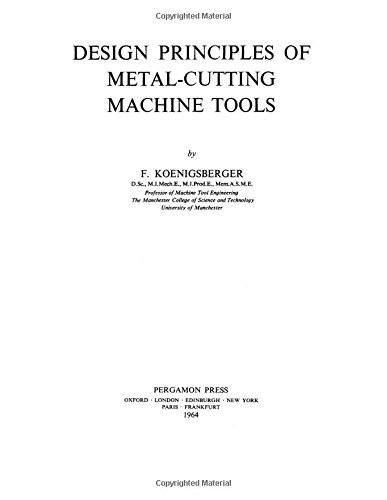 9780080101064: Design Principles of Metal-cutting Machine Tools