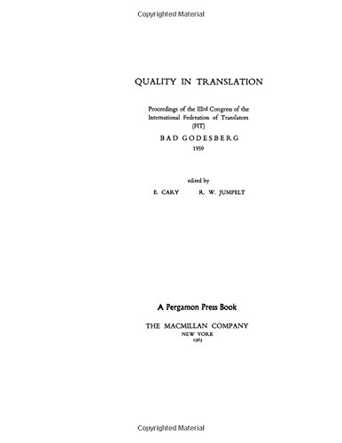 9780080102832: Quality in Translation