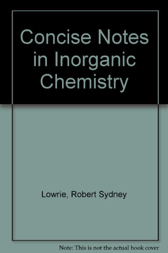 9780080112282: Concise Notes in Inorganic Chemistry