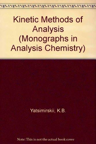 Kinetic Methods of Analysis (Monographs in Analysis Chemistry): K.B. Yatsimirskii