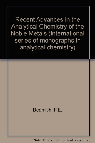 9780080167510: Recent Advances in the Analytical Chemistry of the Noble Metals (International series of monographs in analytical chemistry)