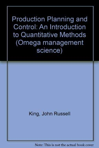 9780080177212: Production planning and control;: An introduction to quantitative methods, (Omega management science)