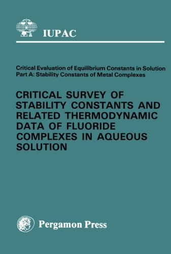 9780080223773: Critical Survey of Stability Constants and Related Thermodynamic Data of Fluoride Complexes in Aqueous Solution: Part A (I U P A C CHEMICAL DATA SERIES)