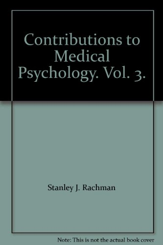 9780080279664: Contributions to Medical Psychology. Vol. 3.