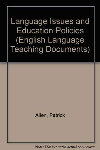 9780080310831: Language Issues and Education Policies: Exploring Canada's Multilingual Resources (Eng Lang Teaching Documents, Vol 119)