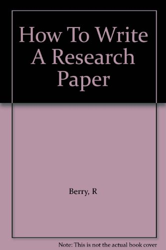 9780080326818: How to Write a Research Paper