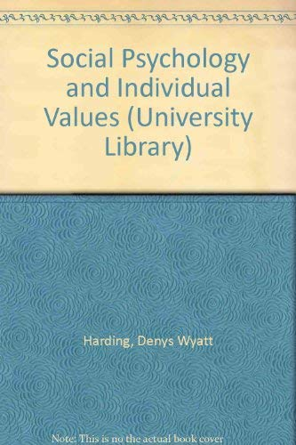 9780090426317: Social Psychology and Individual Values