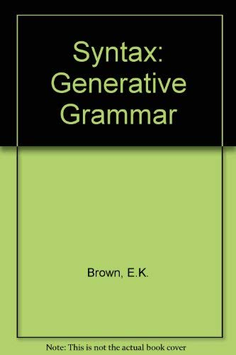 9780091441104: Syntax: Generative Grammar