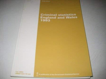 9780101268028: Criminal Statistics: England & Wales 1993