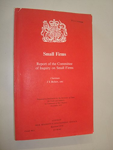9780101481106: Small Firms: Report of the Committee of Inquiry (Command 4811)