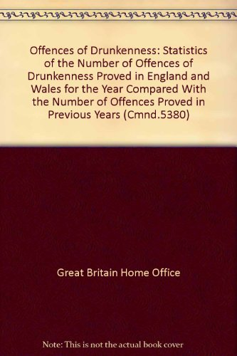 9780101538008: Offences of Drunkenness: Statistics of the Number of Offences of Drunkenness Proved in England and Wales for the Year Compared With the Number of Offences Proved in Previous Years (Cmnd.5380)