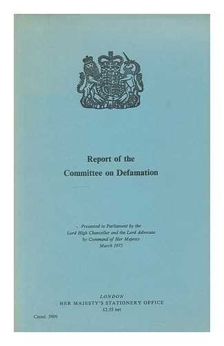 9780101590907: Defamation: Committee Report (Command 5909)