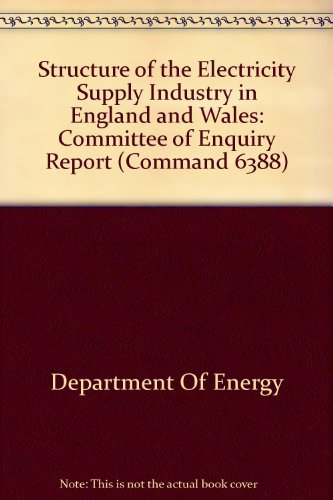 9780101638807: Structure of the Electricity Supply Industry in England and Wales (Command 6388)
