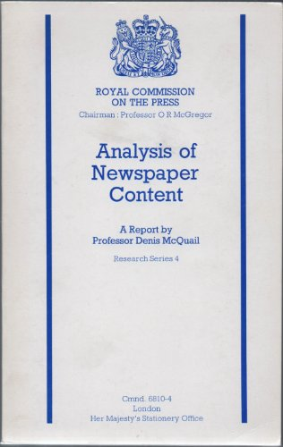 9780101681049: Analysis of Newspaper Content (Command 6810-4)
