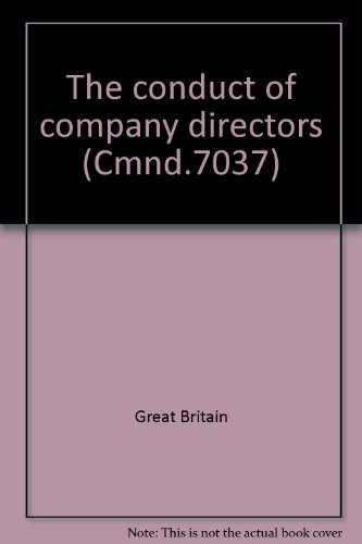9780101703703: The conduct of company directors (Cmnd.7037)
