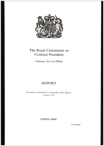 9780101809207: Report of the Royal Commission on Criminal Procedure (Cmnd)