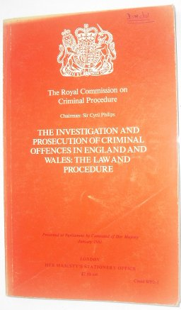 9780101809214: Investigation and Prosecution of Criminal Offences in England and Wales: Law and Procedure (Command 8092-I)