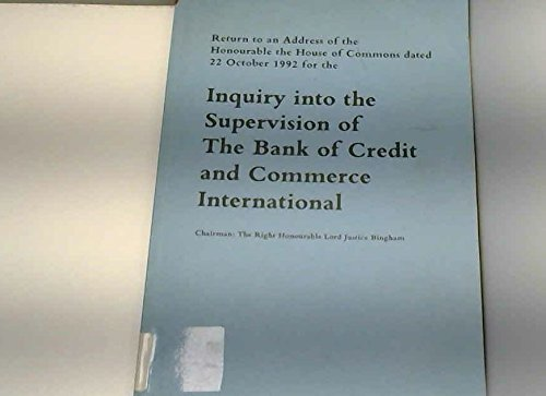 9780102198935: Inquiry into Supervision of the Bank of Credit and Commerce International (House of Commons Papers)