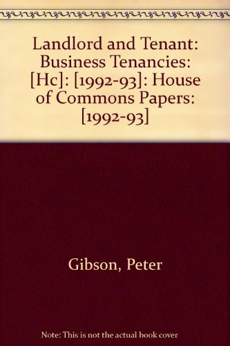 9780102224931: Landlord and Tenant: Business Tenancies: [Hc]: [1992-93]: House of Commons Papers: [1992-93]