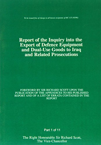 9780102627961: Report of the Inquiry into the Export of Defence Equipment and Dual-use Goods to Iraq and Related Prosecutions