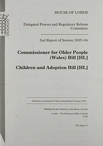 9780104850442: Commissioner for Older People Bill, Children And Adoption Bill: 17 Session 2005-06 (House of Lords Paper)