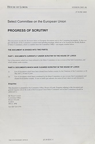 9780104905081: Progress of Scrutiny, 27 June 2005: Euc-1 Session 2005-06 (House of Lords Paper)
