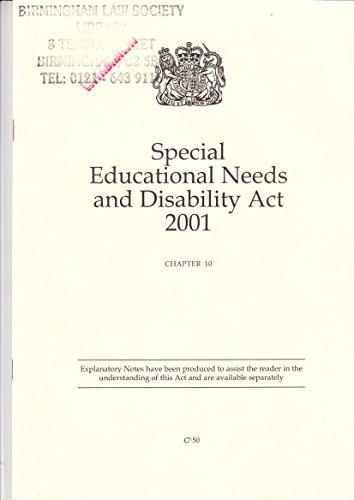 9780105410010: Special Educational Needs and Disability Act 2001 (Public General Acts - Elizabeth II)