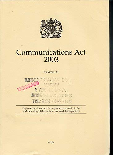 9780105421030: Communications ACT 2003 (Public General Acts - Elizabeth II)
