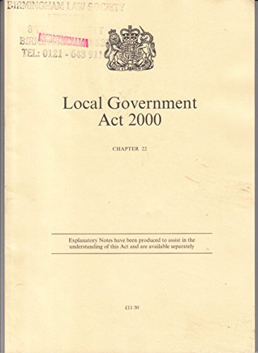 9780105422006: Local Government Act 2000 (Public General Acts - Elizabeth II)
