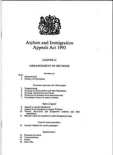 9780105423935: Asylum and Immigration Appeals Act 1993: Elizabeth II. Chapter 23