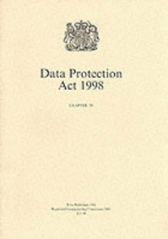 9780105429982: Data Protection ACT 1998 (Public General Acts - Elizabeth II)