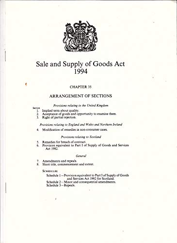 9780105435945: Sale and Supply of Goods Act 1994