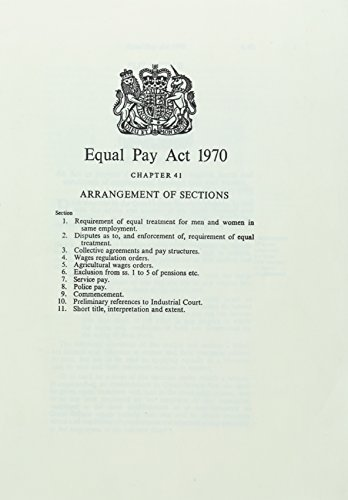 9780105441700: Equal Pay Act 1970: Elizabeth II. 1970. Chapter 41