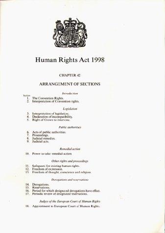 9780105442981: Human Rights ACT 1998: Elizabeth II. Chapter 2 (Public General Acts - Elizabeth II)