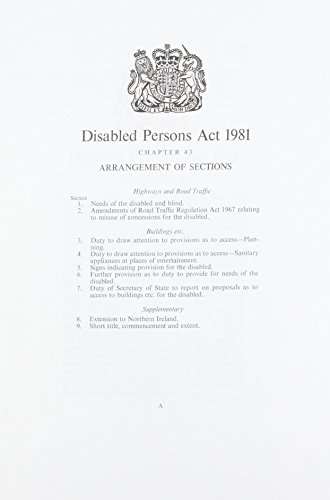9780105443810: Disabled Persons Act, 1981: Chapter 43