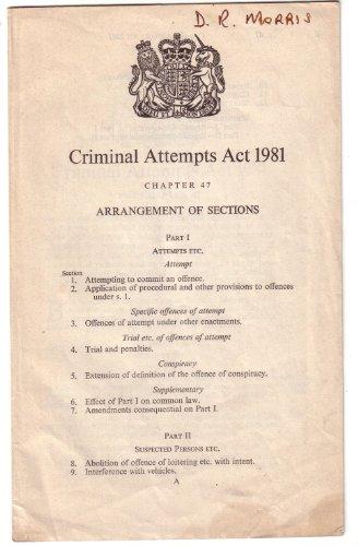9780105447818: Criminal Attempts Act, 1981: Elizabeth II, 1981. Chapter 47
