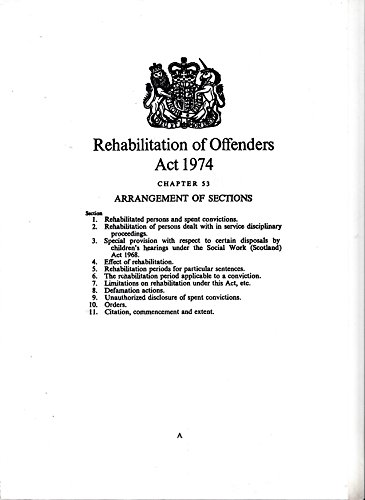 9780105453741: Rehabilitation of Offenders Act 1974 (Elizabeth II: chapter 53)