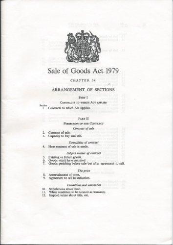 9780105454793: Sale of Goods Act 1979: Elizabeth II. Chapter 54: Elizabeth II. 1979. Chapter 54