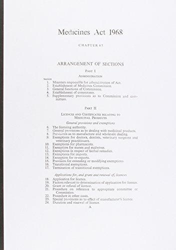 9780105467687: Medicines Act 1968: Elizabeth II. Chapter 67