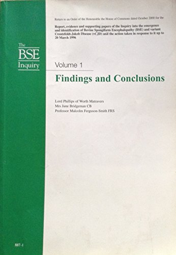 9780105569701: The BSE Inquiry: Findings and Conclusions v. 1 (House of Commons Papers)