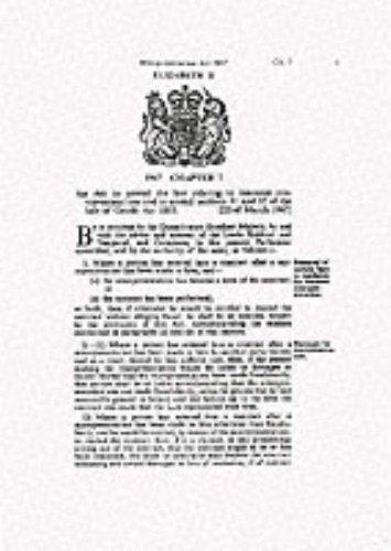 9780108503634: Misrepresentation Act 1967: Elizabeth II. Chapter 7