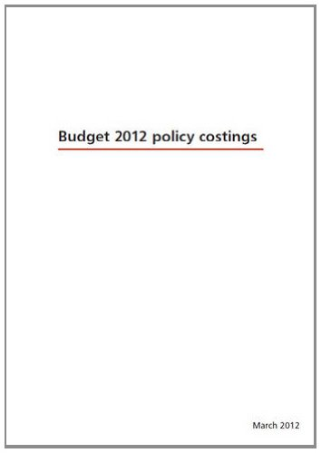 9780108511530: Budget 2012 Policy Costings