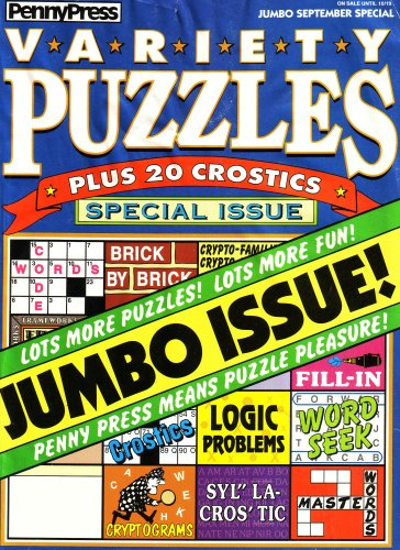 9780109665362: Penny Press Variety Puzzles: Plus 20 Crostics, Special Issue: Lots More Puzzles, Lots More Fun, Jumbo Issue, Code Words, Brick By Brick, Crypto-families, Frameworks, Fill-in, Crostics, Logic Problems, Word Seek, Crytograms, Syla-crostic, Master Words (074851081532, Vol. 1, No. 89, December 2003)